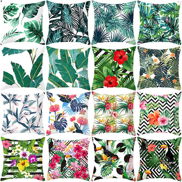 Summer Tropical Plants Decorative Pillowcase Green Leaves Throw Pillow Case Polyester Printing Pillow Cover Kussensloop