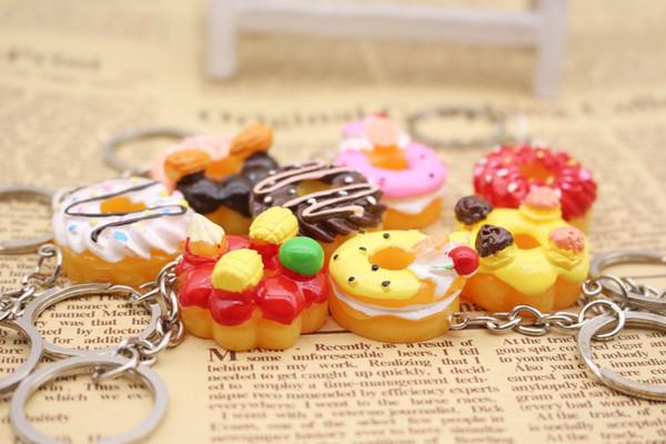 Kore sevimli yaratıcı hediye simülasyon gıda anahtarlık kek tatlı çörek anahtarlık