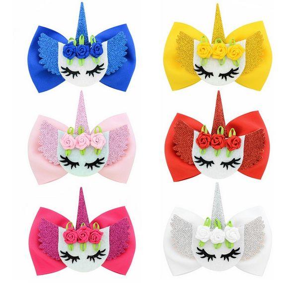6 Colors Fashion Flower Shape Hair clip Hair Accessories 4 Inch Unicorn Bow Hair Clips for Girls Kids A49