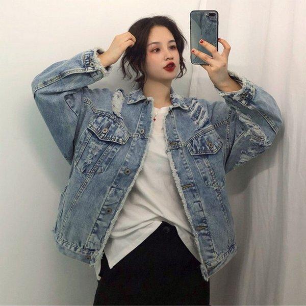 female spring new loose personality denim jacket women washed raw edge harajuku hole coat womens casual streetwear jacket