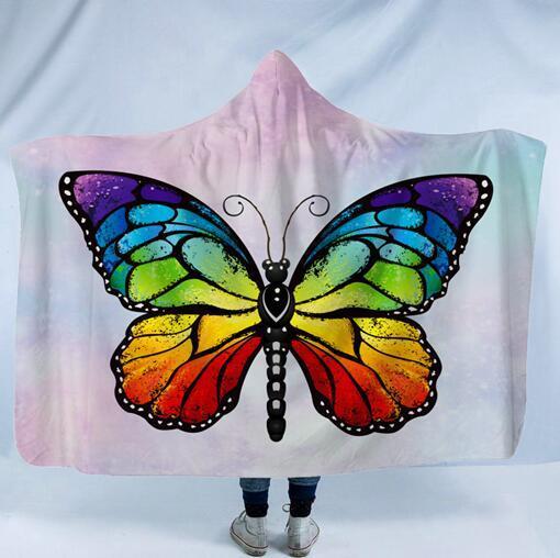 Mariposa manta con capucha de lana Manta portátil con sombrero Impreso Mantas de mariposa Niños adultos Invierno con capucha Abrigo de Sherpa GGA2201