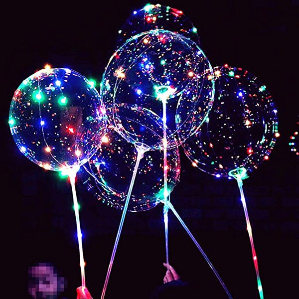 LED Light Up Bobo Balloons Flashing Handles Bubble Bobo Balloons Christmas Birthday Party Decoration birthday party decorations