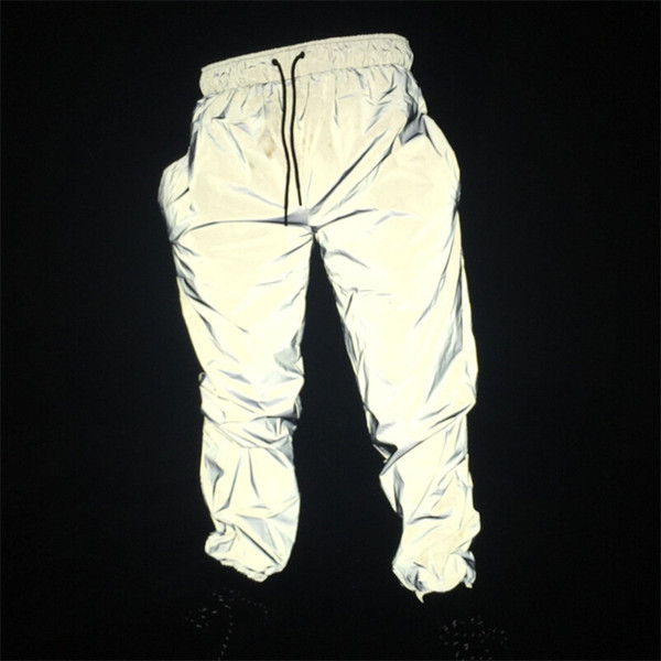 Joggers men's reflective pants men hip hop women dance dancing night light shiny blink long pants PT12