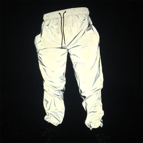Koşucular erkek yansıtıcı pantolon erkek hip hop kadın PT12 gece lambası parlak göz kırpma uzun pantolon dans dance