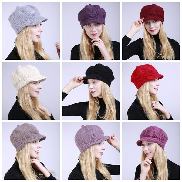 2019 Women Winter Hat Brim Warm Beanies Fleece Inside Knitted Hats For Woman Rabbit Fur Cap Autumn And Winter Ladies Fashion Hat From Love Kids 4 98