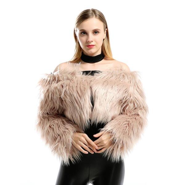 Fur coat 2018 new sexy word collar faux fur artificial hair ultra short coat shawl cardigan women HN198