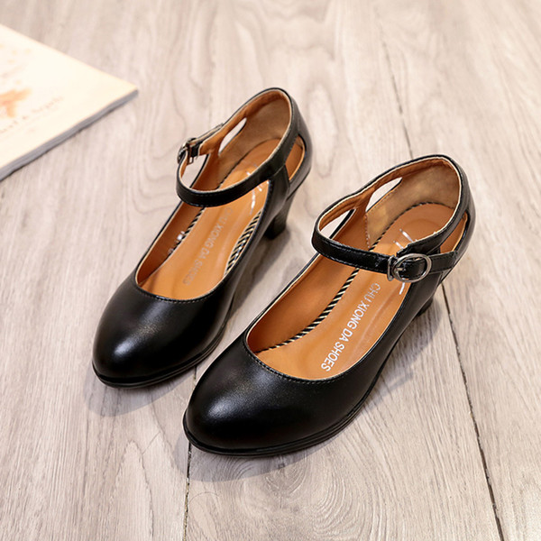Women Ladies Fashion Solid Round Toe Square Heel Buckle Single Shoes