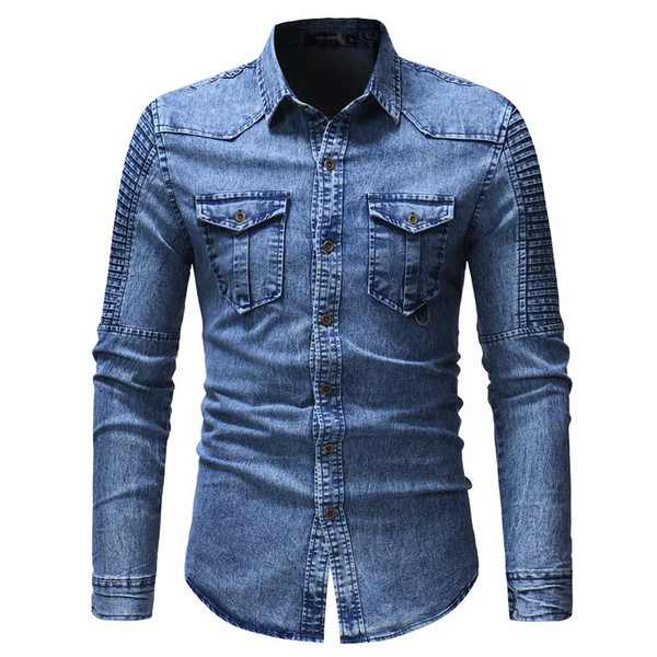 2018 New Autumn Demin Shirt Men Brand Casual Shirts Men Cotton Long Sleeve Fashion Camisa Masculina Mens Denim Shirts