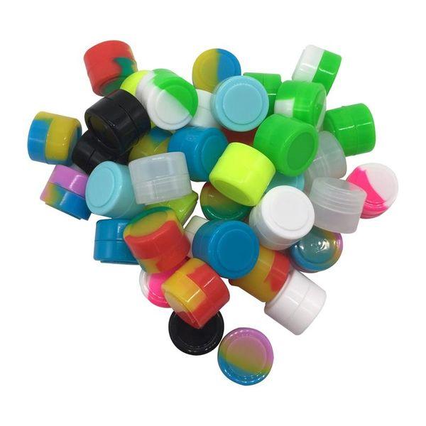 Wholesale -12 Pcs/lot Silicone Container 2 Ml Mini Round Stash Jar , Food Grade Dab Container Smoke Accessories