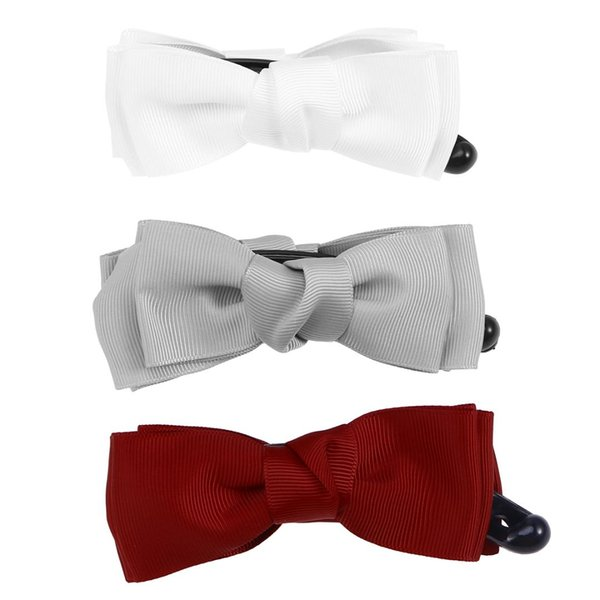 3pcs Women Fashionable Banana Hair Clip Cloth Art Bowknot Ponytail Holder Strong Tension Hair Claw (Wine Red + White + Grey)
