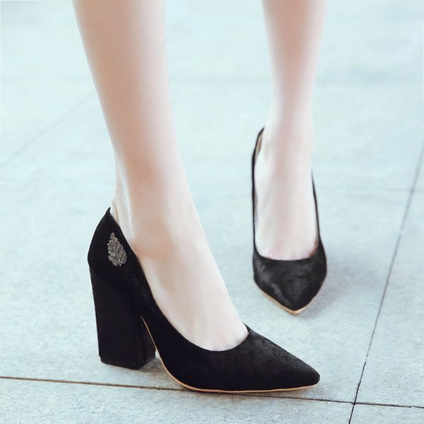 Big Size 11 12 13 14 ladies high heels women shoes woman pumps Rough heel Shallow mouth Package the heel Package toes