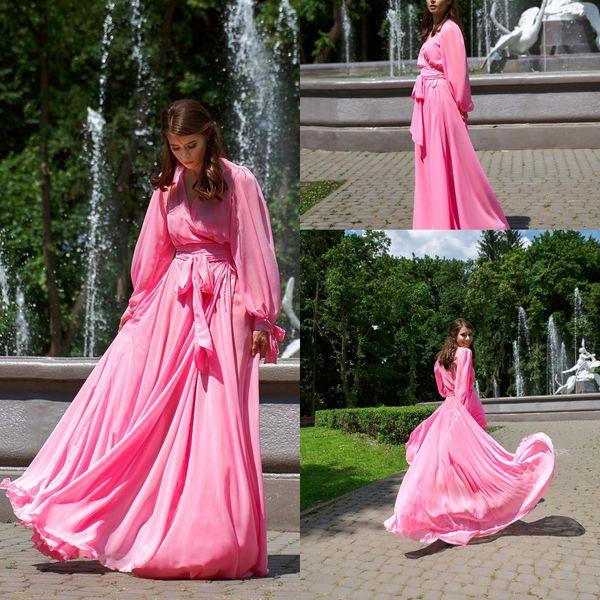 Une ligne rose femmes bain Robes col en V à manches longues en mousseline de soie Perles de mariée Robe étage longueur Peignoir