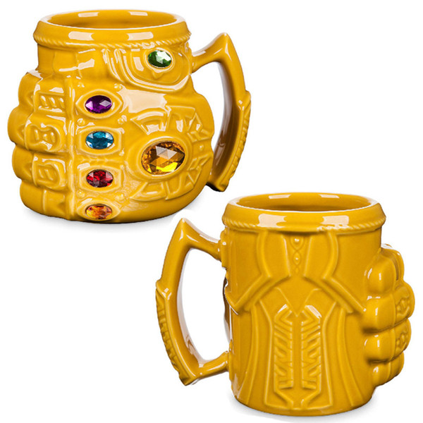 New Marvel Thanos Guanti Fist Coffee Mugs Anime Tazze e tazze Cool Plastic Infinity Gem Mark Cartoon Drinkware Miglior regalo per Kid