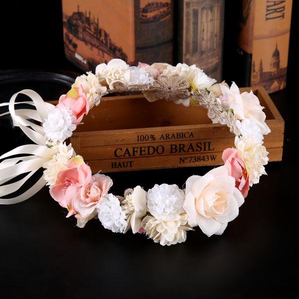 Flor de la boda Corona de la guirnalda Corona de la venda Floral de la corona Hairband nupcial guirnaldas de boda Chicas princesa flores guirnaldas KKA7087