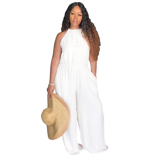 Kadınlar Casual Spagetti Kayışı Elastik Kemer Geniş Bacak Uzun Pantolon Tulum Kız Q147 için