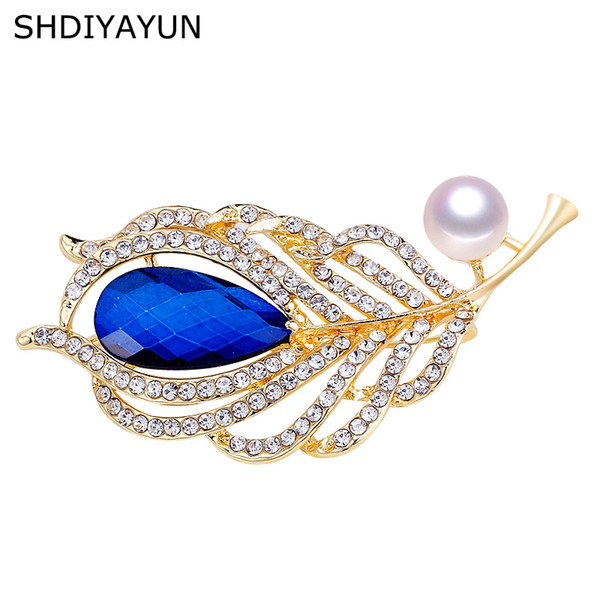SHDIYAYUN 2019 Good Pearl Brooch Feather Brooch For Women Sapphire Pins Brooches Natural Freshwater Pearl Jewelry Gift