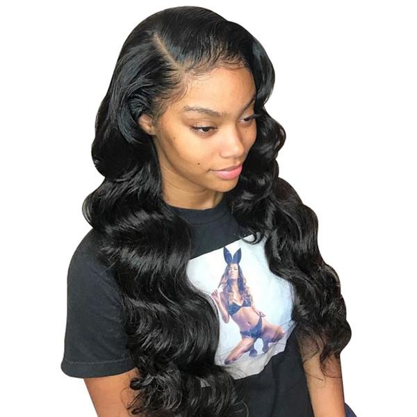 Frente del cordón de la onda del cuerpo 13X6 pelucas del pelo humano de Malasia Pre desplumados peluca del cordón del pelo con el pelo del bebé
