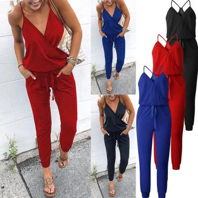 Wontive New Arrived!! Summer Cross V-neck Lace-up Sexy Halter Jumpsuit Y19060501
