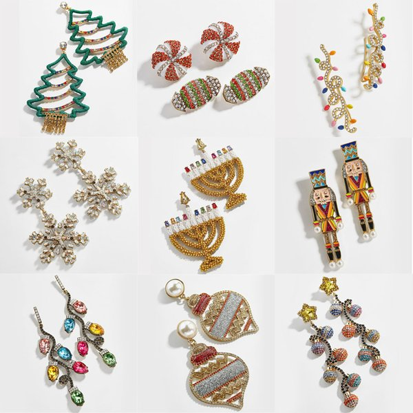 Pendientes de Ladyfirsy Baub Christams Motif lindo colorido de la joyería de los árboles de Navidad pendiente cristalino de la manera caramelo partido de las mujeres de vacaciones