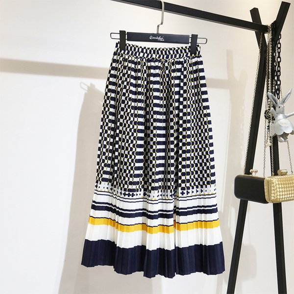 2019 весна мода новый черный белый контрастный цвет плиссированные эластичные юбки высокой талией все днища женские Yf129