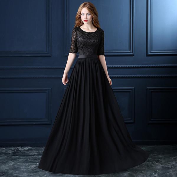 Halbarm Chiffon Lange Brautjungfernkleider mit Spitze 2019 Schwarz Rot Pfirsich Bodenlangen Abendkleid vestido de noche
