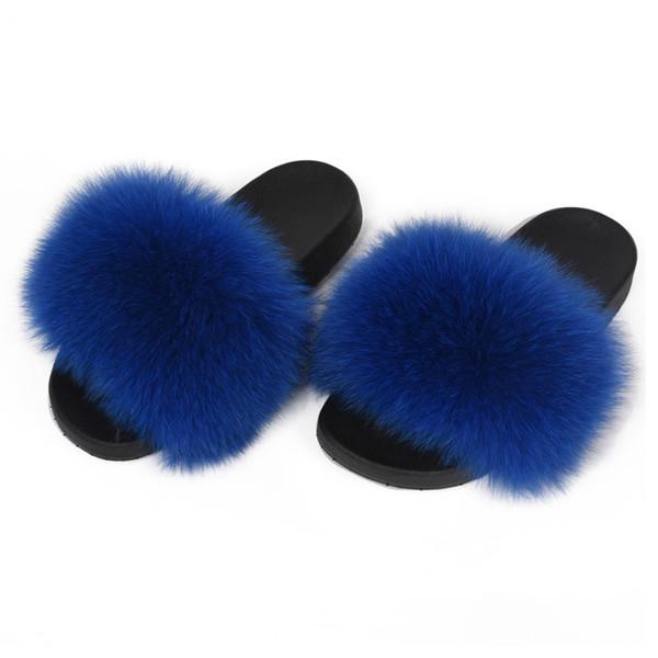 Genuine Real Fox Fur Raccoon Fur Indoor Outdoor Slippers Sliders Women Fashion Spring Summer Autumn Flat Heel