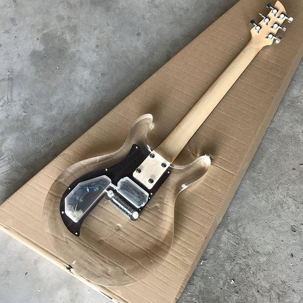 В наличии Новый Акриловый корпус Электрогитара с деревянной накладкой, Прозрачная гитара, Реальный показ фото, Оптовая продажа