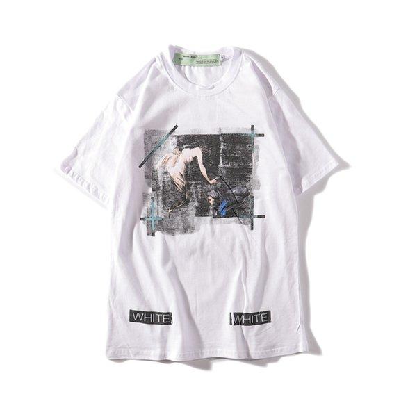 Yaz yeni stil KAPALI siyah dini melek yağlı boya çizgili beyaz severler kadın ve erkek kısa kollu tişört ow