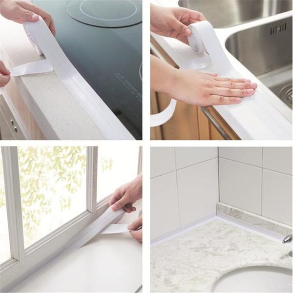 1 ROLL PVC Material Kitchen Bathroom Wall Sealing Tape Waterproof Mold Proof Adhesive Tile Repair 3.2mx2.2cm