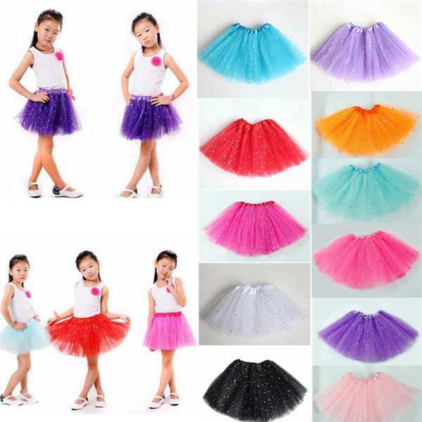 top popular Newborn infant TUTU Skirts Fashion Net yarn Sequin stars baby Girls Princess skirt Halloween costume 11 colors kids lace skirt 30PCS 2021