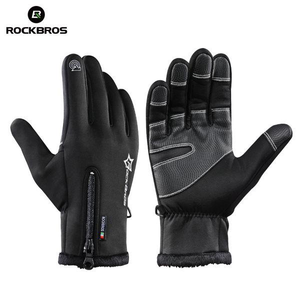 ROCKBROS Thermal Ski Winter Fleece Waterproof Snowboard Gloves Snow Motorcycle Skiing Sportswear Audlt Kids Gloves