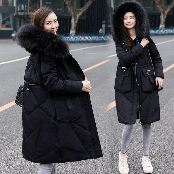 2019 экстра женщин большого размера зимние пальто длинный пуховик реальный енот меховой воротник пальто снег белая утка вниз утепленная верхняя теплая 5XL 6XL