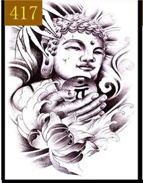 Langlebiger Aufkleber des dauerhaften männlichen Buddha-Schädelaufklebers der Tätowierungspaste wasserdichten männlichen klassischen Tätowierungsgroßen Bildes geben Verschiffen frei