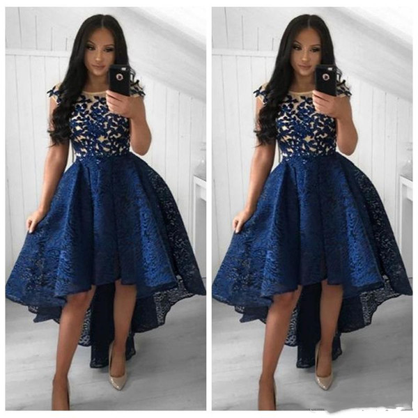 High Low Lace Homecoming Dresses A Line Short front Long Back New 2019 Applique Sheer Prom Party Wear Girls Cocktail Dress Cheap