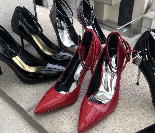 2019 сексуальные женщины на высоких каблуках лакированные туфли на высоком каблуке туфли-лодочки с острым носом туфли-лодочки Lockkey туфли на каблуках ремешок лодыжки