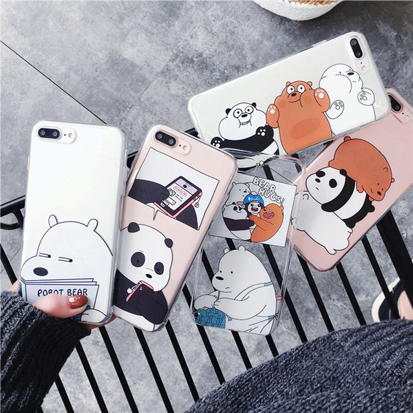 Cartoon Bear Pattern Crashproof Soft Back Cover Silicone Transparent Cell Phone Case Protective Covers For iPhone X XR XS MAX 6 6S 7 8 PLUS