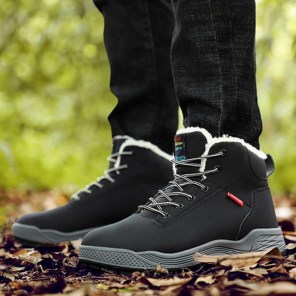 Zapatos para hombre de invierno Talla grande 45-48 Cuñas Botas de tobillo para hombre Botas de nieve con punta redonda de felpa con punta redonda Hombre Casual con cordones