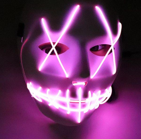 Neueste LED Halloween Ghost Masken Die Purge Film Draht Glowing Mask Masquerade Vollgesichtsmasken Halloween maske Kostüme Party maske Geschenk SN1034