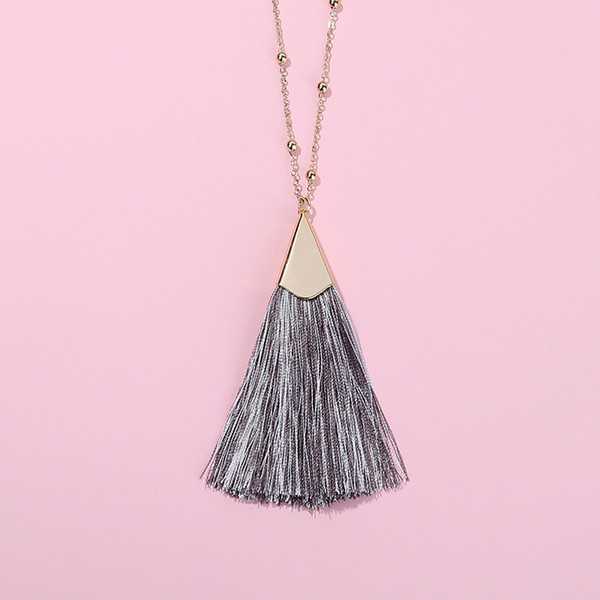 Free Shipping 2019 New Style The Chain Length Of 80cm Cotton Thread Tassel Bead Chain Necklace For Women