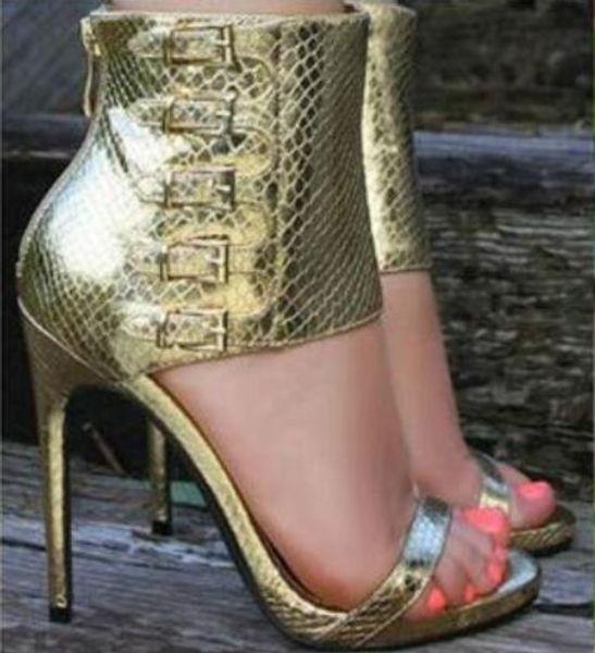 Frete grátis fivelas encantador de volta zíper dedo aberto sandálias de salto alto verão ankle boots stiletto saltos plataforma sandália botas