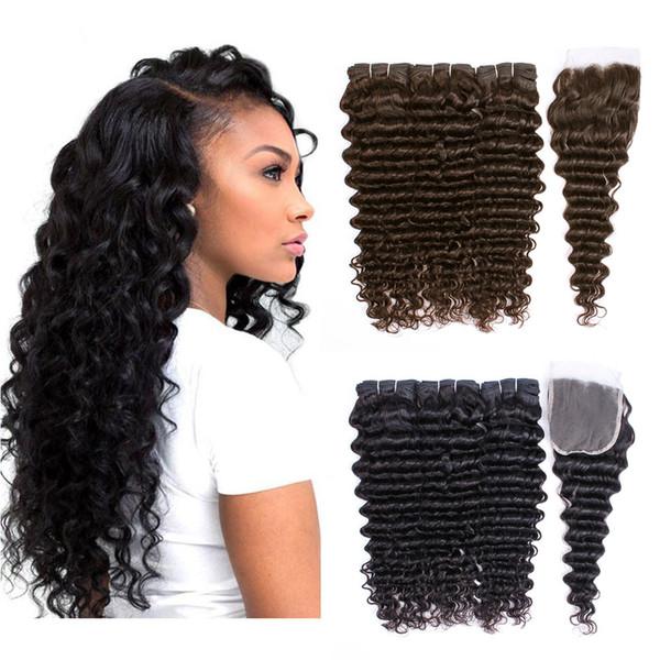 KISS HAIR Fasci di capelli a onda profonda di colore naturale marrone scuro con chiusure 4 pezzi / set Capelli umani brasiliani ricci profondi