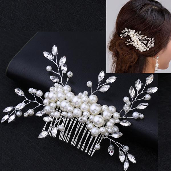 High-Grade Elegant Pure Handmade Pearl Beaded Crystal Headdress Hair Comb Only Beautiful Bride Wedding Dress Accessories Plate Hair Ornament