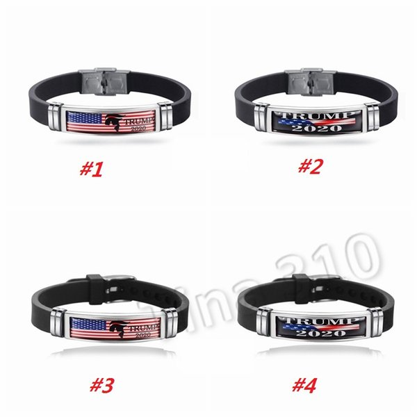 best selling New Trump 2020 Bracelet Donald Keep America Great Again Wristband Stainless Steel Silicone Bracelets Trump Wristbands Party Favor 5049