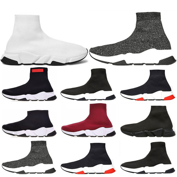 Hot New Speed Trainer Luxury Shoes all red grey black white Flat Classic Socks Boots Sneakers Women Trainers Runner size 36-45