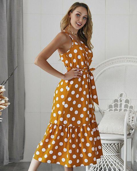 Designer Polka Dot Printed Printed V Neck Vintage Dresses Sexy Ladies Condole belt Dresses Designer Sleeveless Dresses