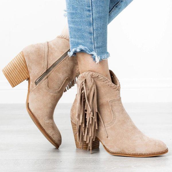 Ankle Boots Tassel Boots Woman Heel Leopard Zippers Short Zapatos De Mujer Women's Low Heel Comfortable Shoes