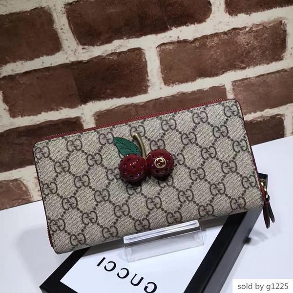 Лучшего качество Luxury знаменитость дизайна Письмо выбивать алмазы Вишневого Пряжка бумажника натуральной кожа Женщина 476049 Кошелек сцепления