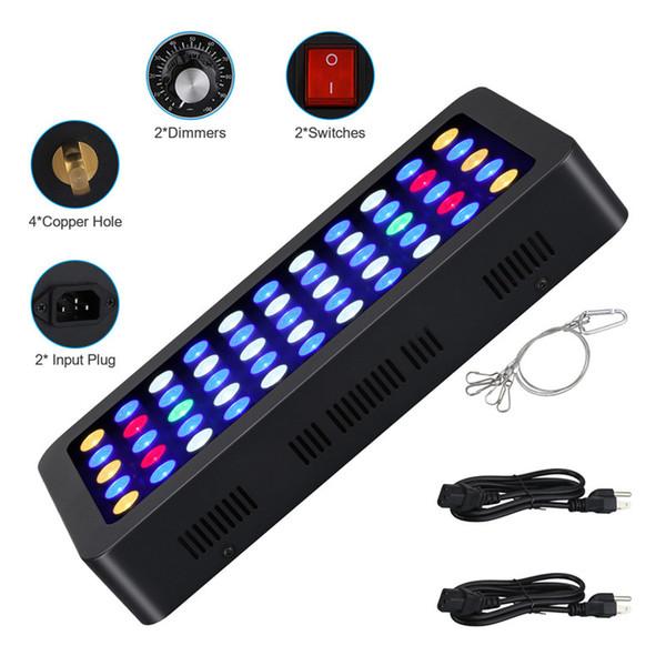 3 adet 165 W LED Akvaryum Işıkları 55 * 3 w Manuel Dim Tam Spctrum Büyümek Işık Balık Tankı Mercan Resif Işıkları