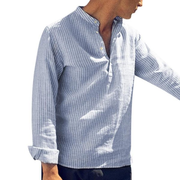 2019 Mens Striped Shirt Cotton Long Sleeve V Neck Tops Fashion Blouse Loose Vintage Casual Shirts Men Streetwear