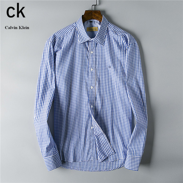2019 Fashion Bussiness Shirts Brand Designer Cotton Long Sleeve Collar Dress Shirts Stripes Printing Casual Pocket Shirts With Buttons-1114